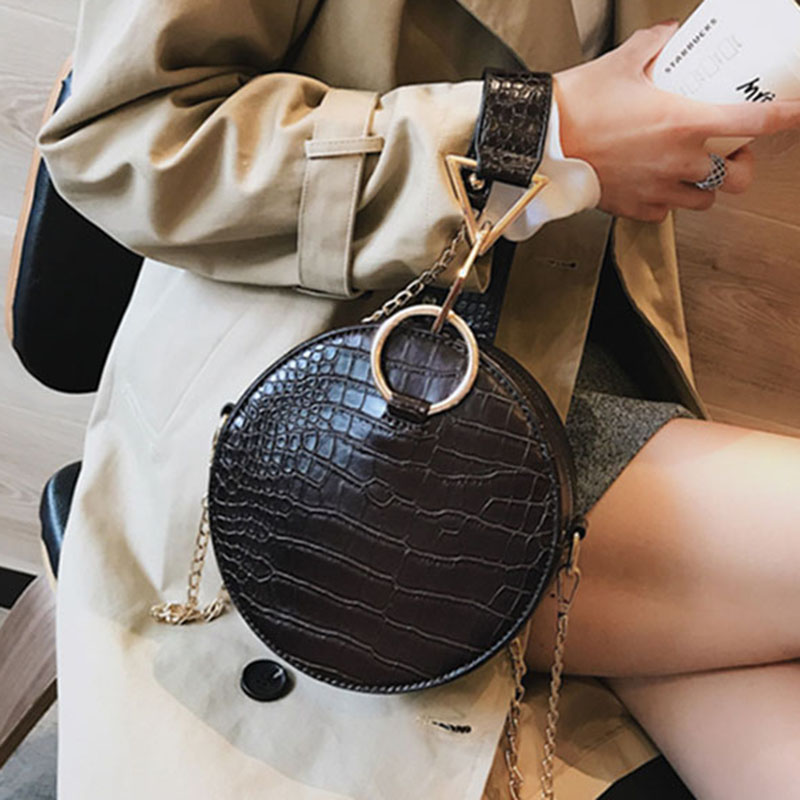 Crocodile Leather Round Bag Women Shoulder Messenger Bags Luxury Ladies Hand Bags Crossbody Bags For Women 2019 Evening Bag W293