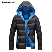 Мужская стеганая куртка Mountainskin, черная Повседневная приталенная куртка на молнии, с капюшоном, теплая верхняя одежда, размеры до 5XL, зима 2019