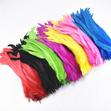 100Pcs/Lot Natural Rooster Feathers Far Crafts 10-12/25-30CM Rooster Tail Feathers Pheasant Feathers Plume Decoration Plumas 50pcs natural pheasant feathers 2 3 inch 5 8cm high quality plume diy jewelry making accessories wedding stage mask decorations