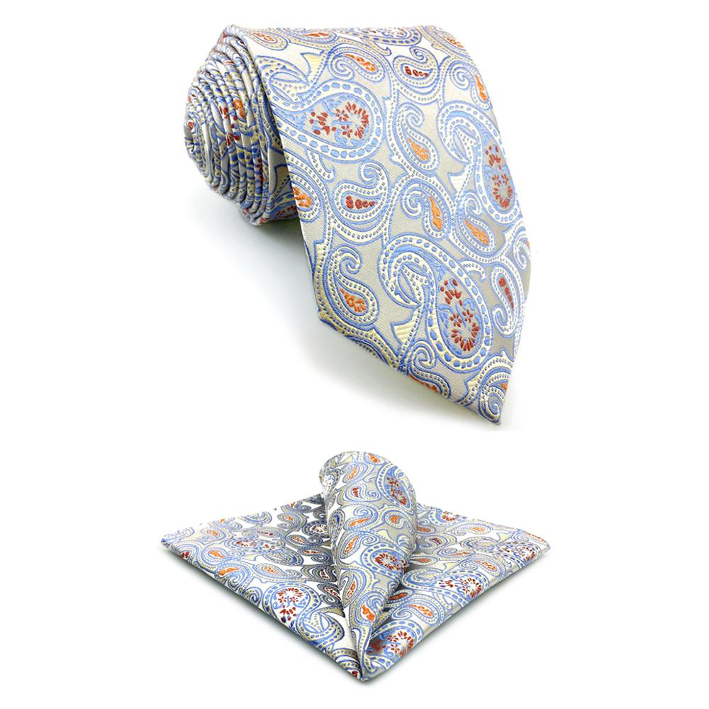 SHLAX/&WING Necktie Set with Pocket Square Silk Mens Tie Hanky Set