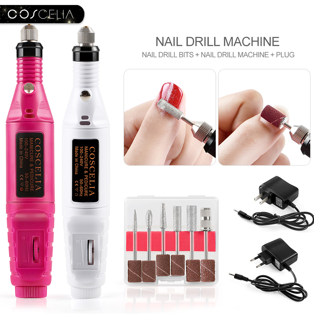 COSCELIA 1Set Professional Electric Nail Drill Machine Kit Manicure Machine Nail Art Pen Pedicure Nail File Nail Art Tools Kit