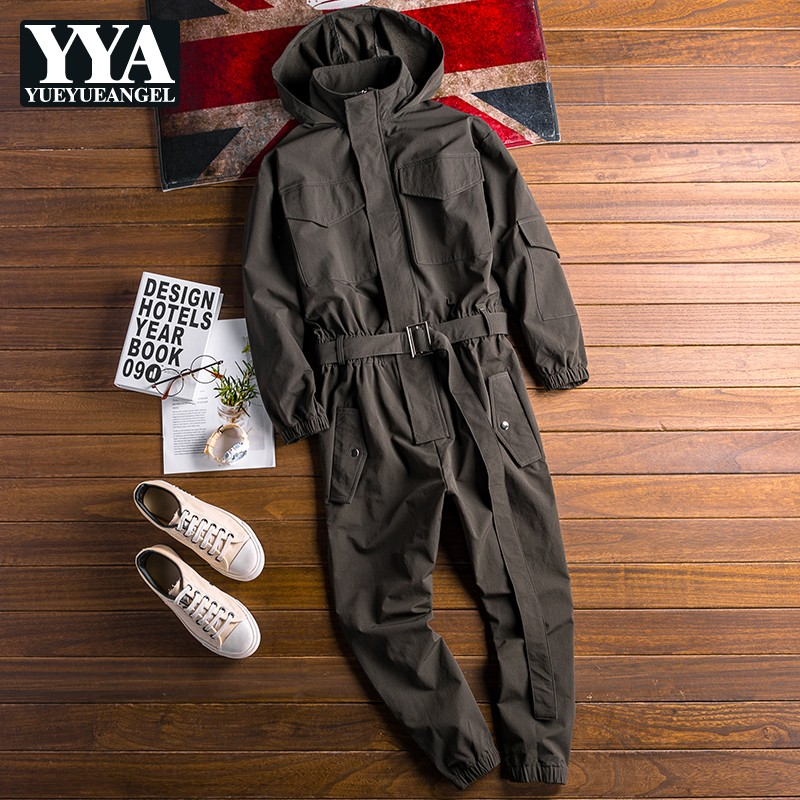 2021 Autumn New Mens Hoody Overalls Long Sleeve Jumpsuit Joggers Cargo Pants Hip Hop Casual Jumpsuits Sashes One Piece Rompers
