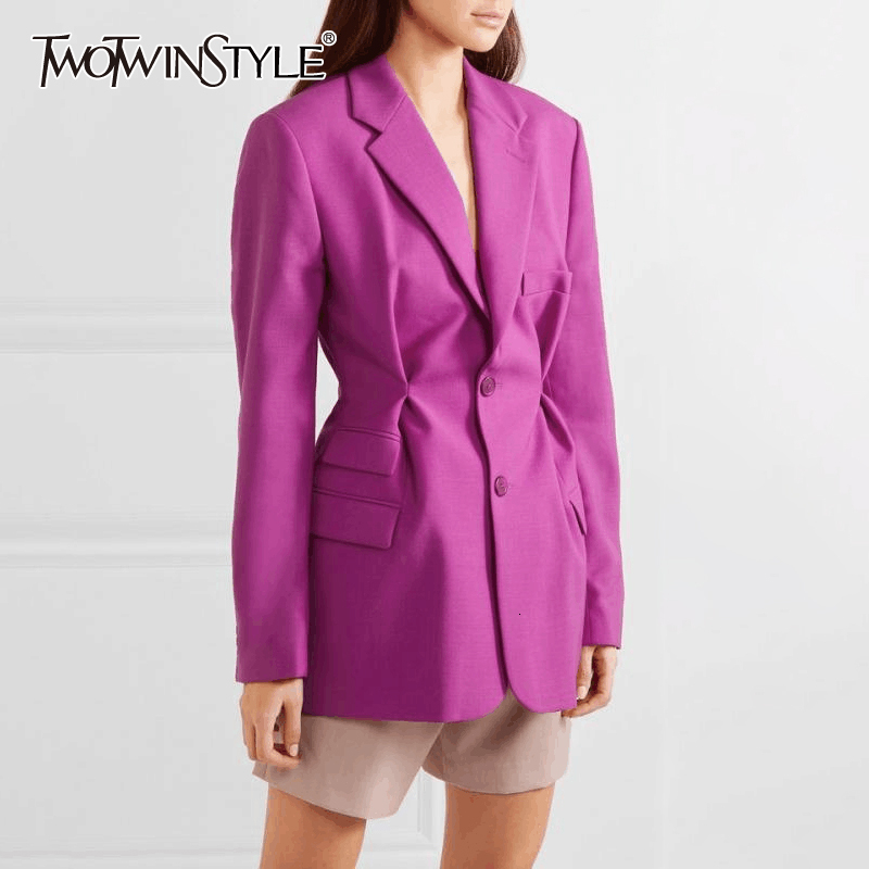 TWOTWINSTYLE Elegant Ruched Blazers For Women Lapel Collar Long Sleeve High Waist Tunic Suits Female 2020 Fashion Clothing Tide