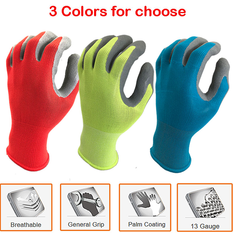 12 Pairs Safety Protective Work Gloves For Garden Industry With Colorful Polyester Dipping Foam Latex Working Glove