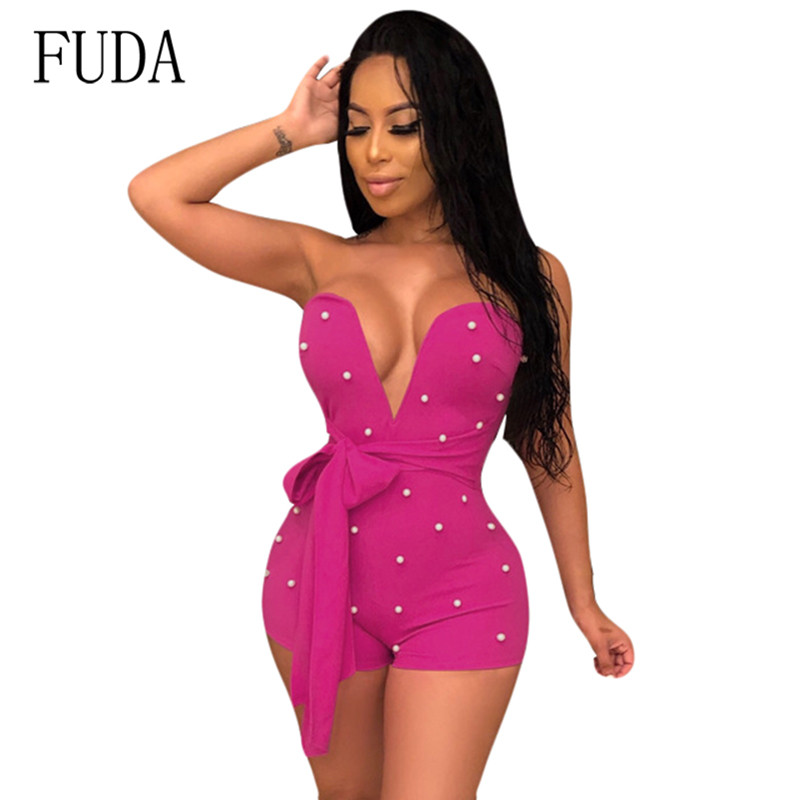 FUDA Sexy Beading Short Romper Women Bandage Bodycon Jumpsuits Deep V Strapless Off Shoulder Slim Nightclub Clothing Playsuits in Rompers from Women 39 s Clothing