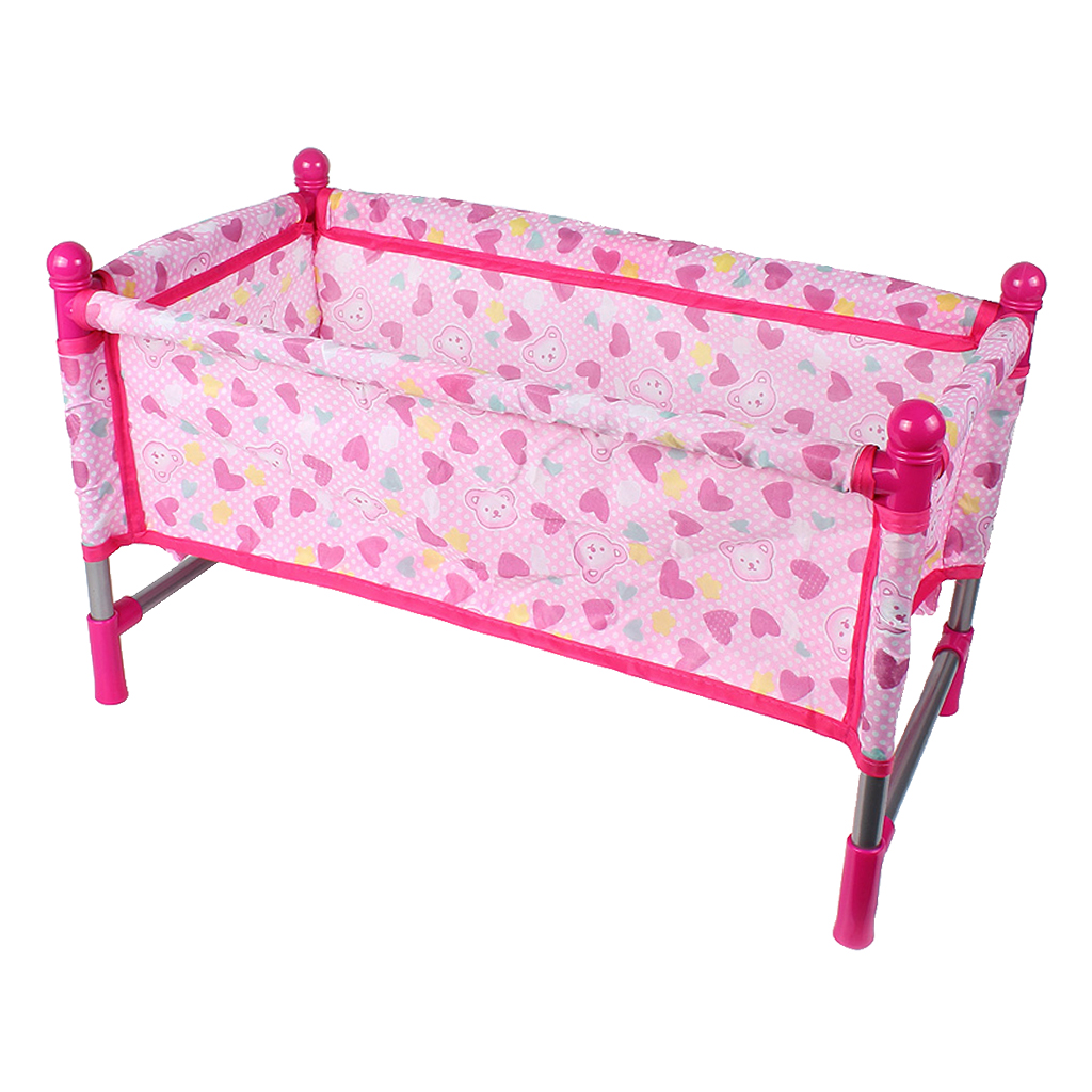 Pink Rocking Bed For Dolls Baby Doll Crib Toy Furniture And Play House Accessories Fits 9 12inch Reborn Dolls Dolls Aliexpress