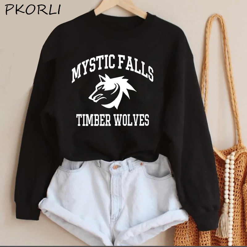 The Vampire Diaries Hoodies Women MenTeam Stefan Salvatore Sweatshirt Mystic Falls Salvatore 17 Printed Women's Clothing 16