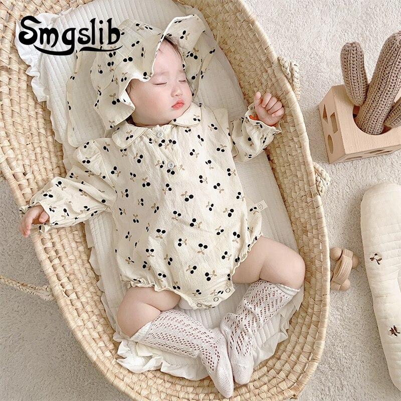 852.0¥ 46% OFF|SMGSLIB 2021 Spring Toddler Baby Girl Flower Romper Korean Style Autumn Baby Girl Pr...