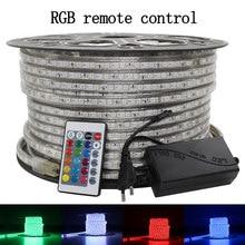 LAIMAIK LED Strip light waterproof rgb strip led ribbon 5050 Led tape 220 flexible led strip 220v 60Leds/M lighting with EU Plug
