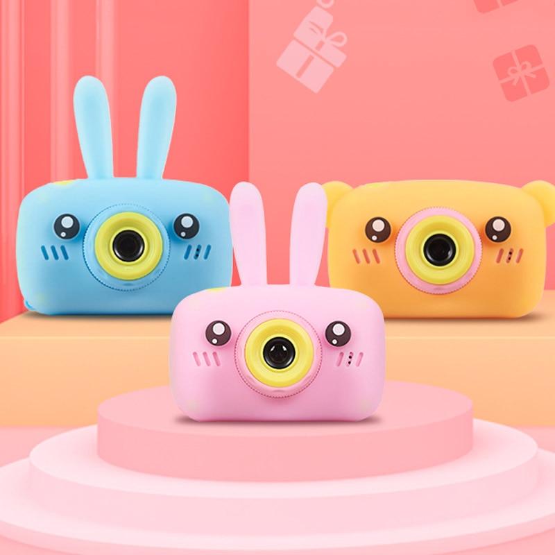 HongHong Kids Camera Cartoon Rabbit Bear 2inch 12MP LCD Digital Shockproof Mini Child Cameras Gifts for Girls Boys Toys Outdoor Play White Cartoon Rabbit