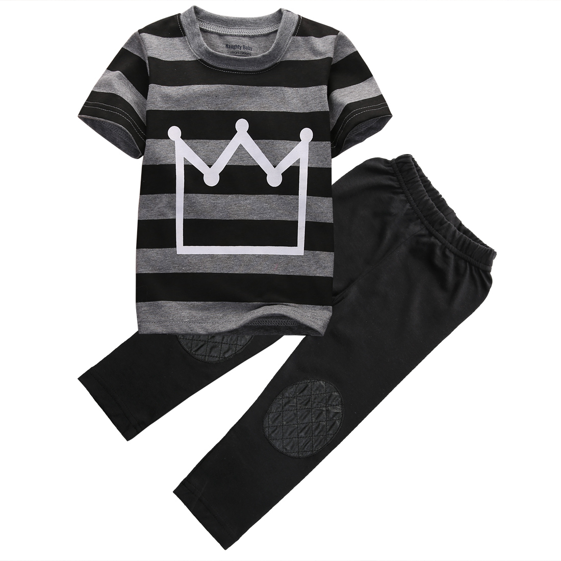 Pudcoco Fast Shipping Baby Boys Clothes New Kids Boy Crown Top Shirt Striped T-Shirt and Pant 2pcs Outfit Children Set image