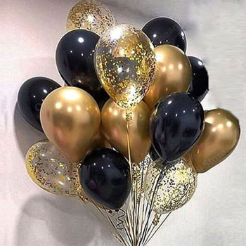 15pcs Gold And Black Metal Latex Balloons For Birthday Party Decorations