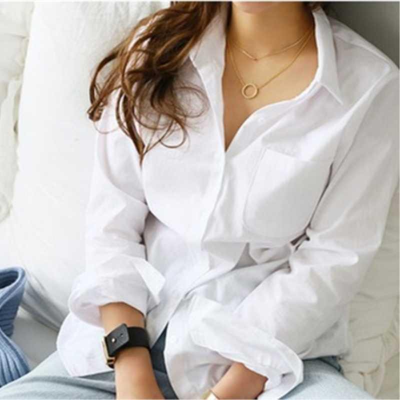 الخريف قميص المرأة الأزياء الصلبة بدوره إلى أسفل طوق الأبيض بلوزة قمصان عارضة جيب واحد طويل كم قميص الملابس النسائية