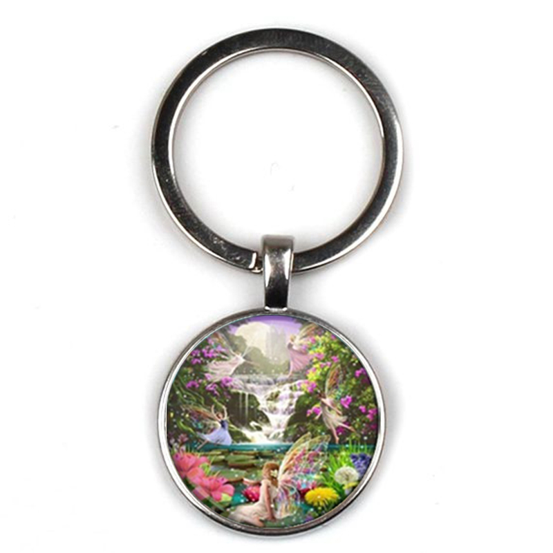 Fashion Beautiful Fairy Dance Photo Keychain Butterfly Men and Women Key Ring Quality Bag Car Glass Friend Gift Chain Charm