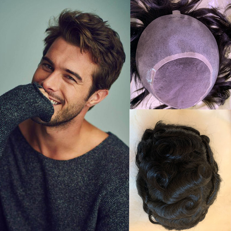 BYMC Human Hairmen Toupee Apollo , Tsingtaowigs Prosthesis , Hair Piece Hair Replacement Lace With PU 5*7 8*10