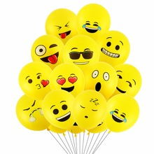 10pcs 12inch Emoji Balloons Smiley Face Expression Yellow Latex Wedding Party Cartoon Inflatable