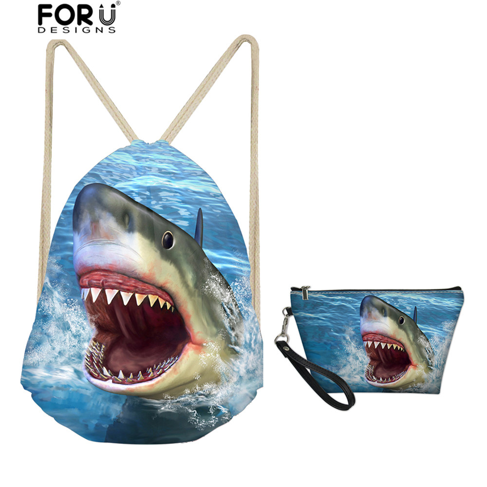 FORUDESIGNS Cool Shark Drawstring Bags Set Zoo Animal Print Softback With Makeup Holders For Women Men Cloth Shoes Storage Bags