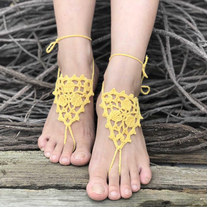 CALOFE Crochet Beach Bridal Anklet boso sandały basen nosić pierścień na palec u stopy Anklet Nude biżuteria na stopy wiktoriańska koronka taniec buty do jogi
