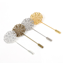 5pcs 25mm Flower Brooch Pin Base Hollow Out Copper Brooch Setting Boutonniere Brooch Accessories for Women Jewelry Making DIY chic hollow out flower rhinestoned brooch for women