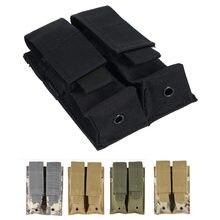 9mm molle bolsa de náilon tático dupla pistola revista bolsa perto coldre para combate caça ao ar livre militar mag bolsa