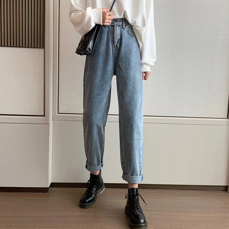 High Waist Jeans For Women Autumn And Winter Korean Version Loose, Thin, Retro, Light Color, All Kinds Of Straight Pants, Wide L
