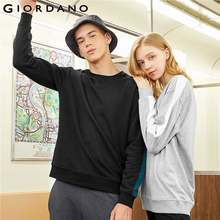 Giordano Men Sweatshirt Cotton Blend Ribbed Crewneck Pullover Contrast Design Long Sleeve Sudadera Hombre Bluzy Meskie 01029790(China)