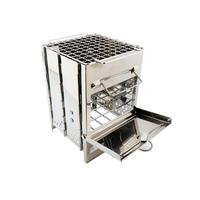 Portable BBQ Picnic Wood Stove Mini Square Grill Stainless Steel Small Folding Barbecue Charcoal Stove Outdoor Household Items