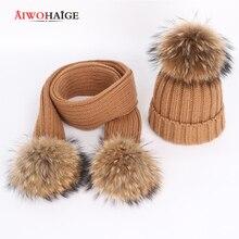 все цены на Autumn and winter women's knitted cotton hats warm raccoon fur pom-pom children's knitted ski hat scarf parent-child caps Beanie онлайн