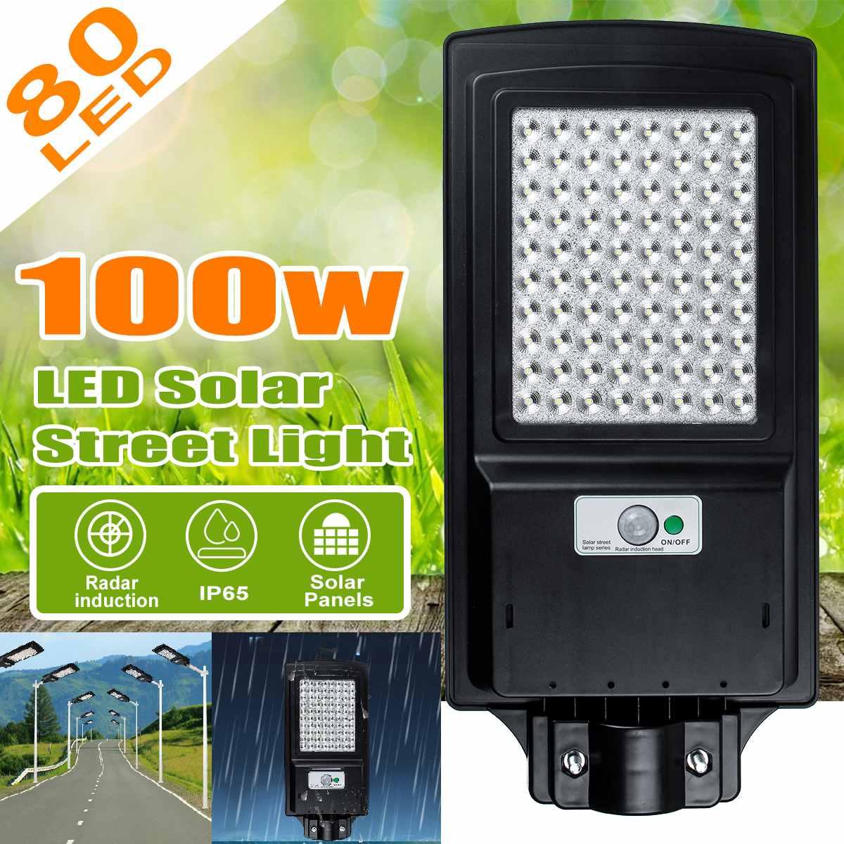 100W 80 LEDs Wall Lamp IP65 Waterproof Solar Street Light Radar Motion Street Lamp Solar Powered Light For Outdoor Garden
