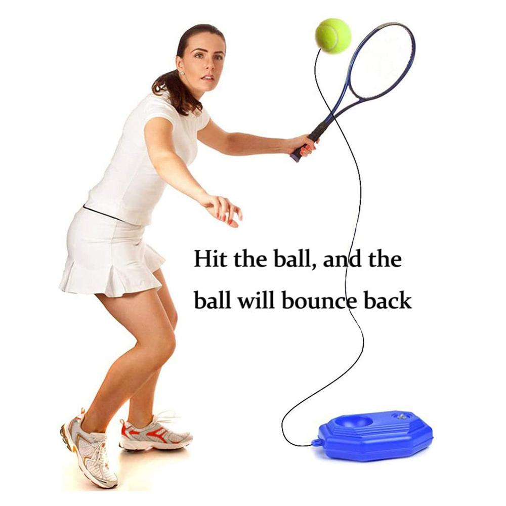 1pc Blue Plastic Racket Ball Trainer Single Tennis Practice Base Elastic Tennis Exercise Training Device Tennis Accessories