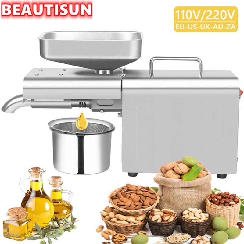 BEAUTISUN, автоматический пресс для масла из нержавеющей стали, машина для холодного масла, домашняя прижимная машина для масла, экстрактор подс...