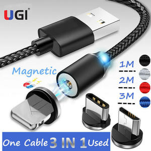 UGI Magnetic-Cable Micro-Usb Braided Charge Type-C Nylon 2A for IOS 360 LED Metal-Alloy