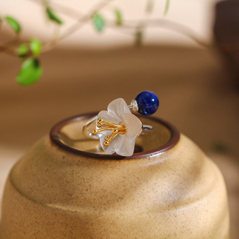 Silver Product Manufacturers Direct Marketing Fine Ring S925 Pure Silver Jewelry Fashion Lady Crystal Flower Lapis Ring