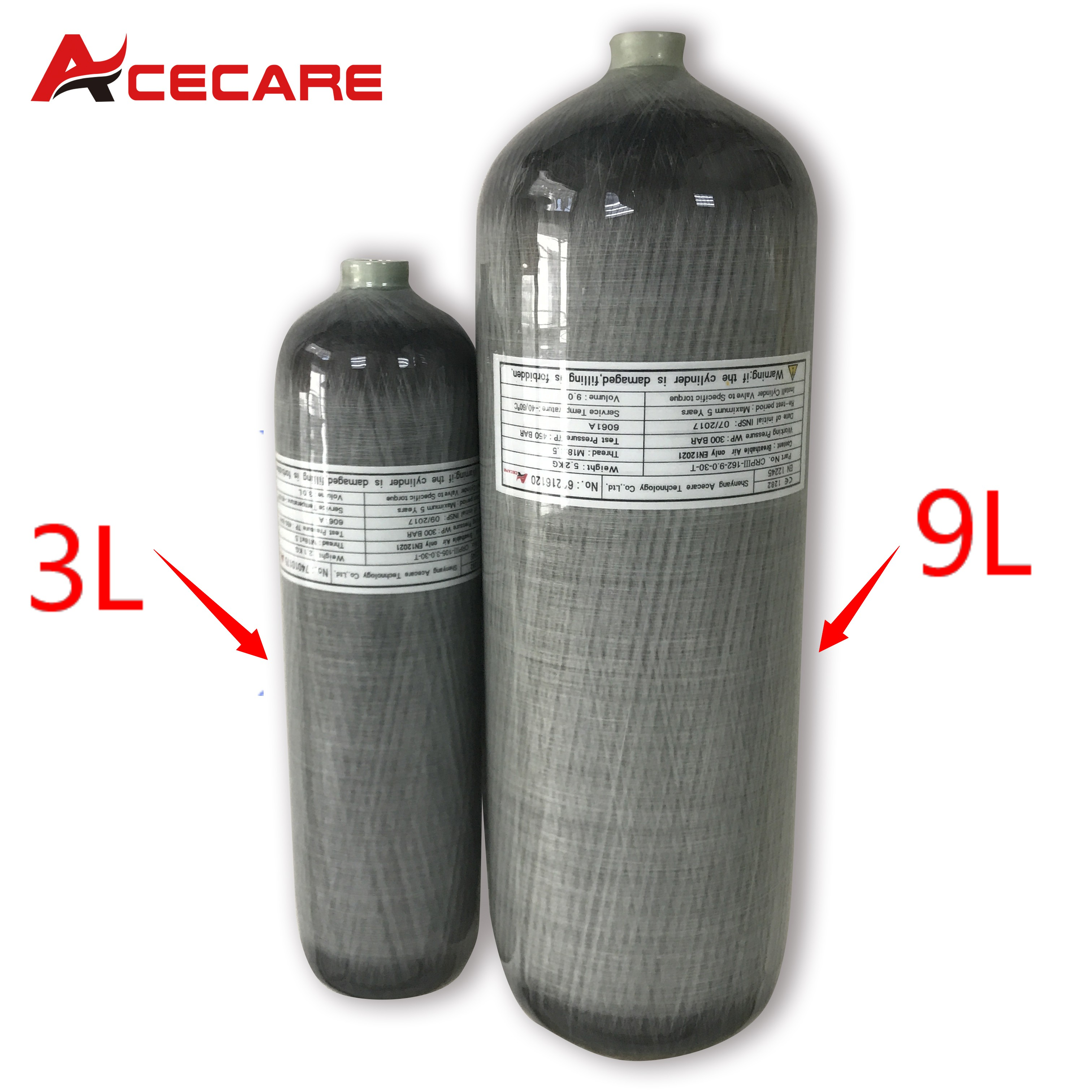 Acecare Pcp Air Rifle Cylinder Carbon Fiber 3L/9L 4500Psi Tank Compressed Air Guns To Hunt Air Rifle Speargun Spearfishing Pcp