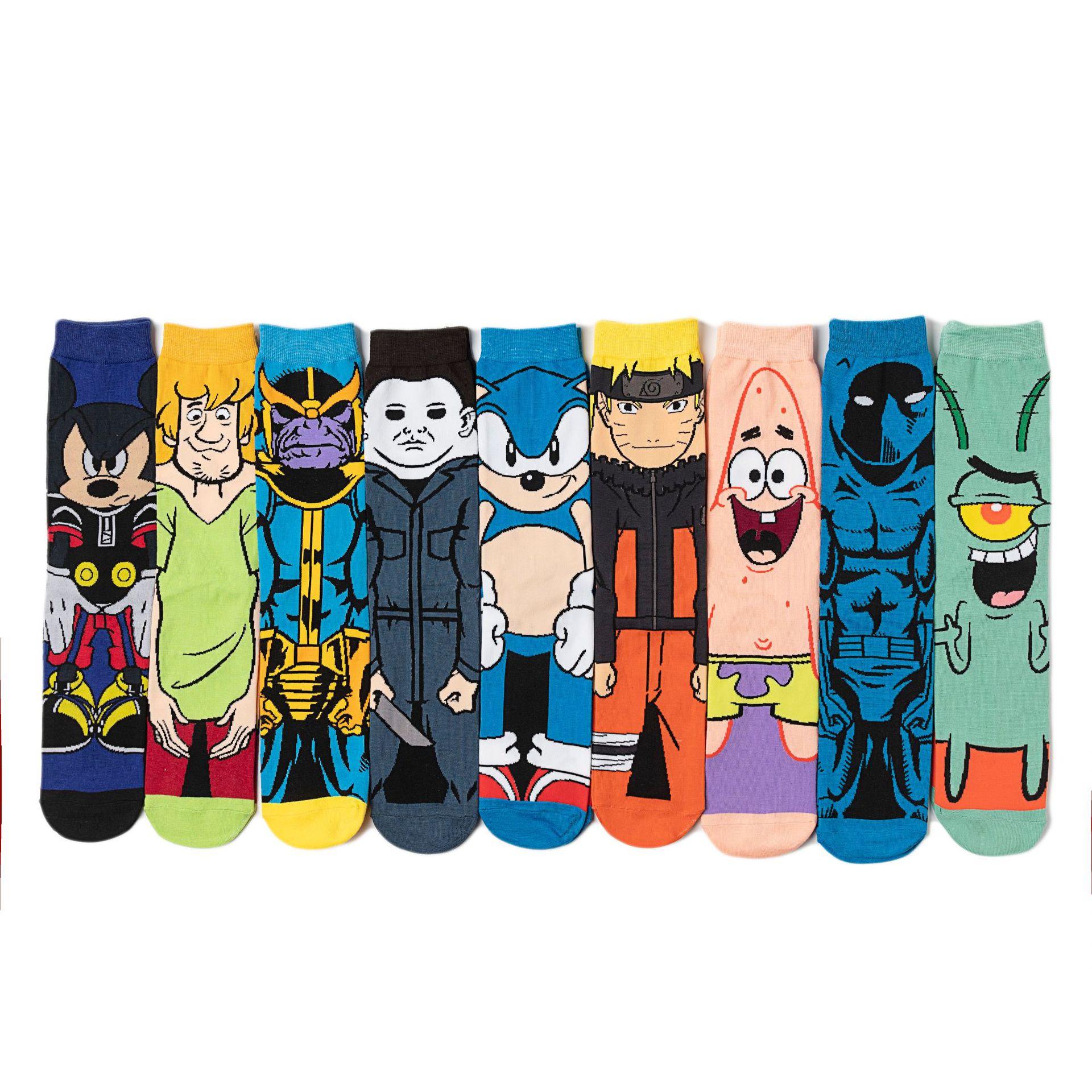 Men Brand Cartoon Character Cotton Socks Harajuku Female Cute Unisex Skatebord Socks Hipster Fashion Animal Print Long Socks
