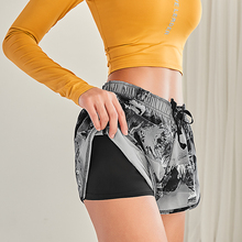 Gym Shorts Women Floral Printing Yoga High Waist Summer Sports Short Athletic Workout Fitness