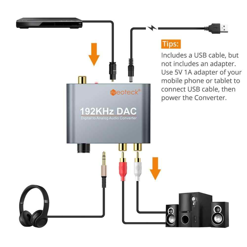Proster Dac Digitale Ottico Toslink Coassiale Ad Analogico Stereo Sinistra/Destra Rca 3.5 Millimetri Martinetti Audio Converter Adapter 192 khz Alluminio