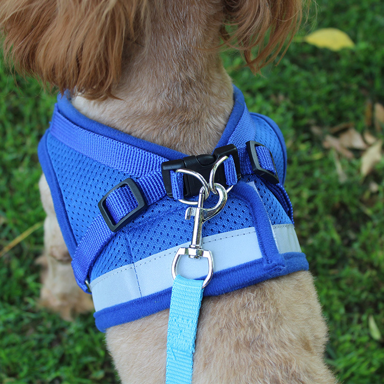 Back Type Chain Chest And Back Summer Lanyard Dog Traction Rope Nursing Dog Lanyard Sub-Reflective Pet Traction Unscalable Throu