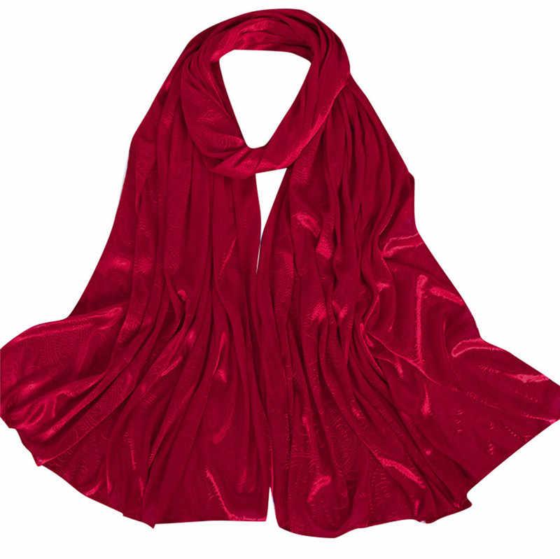 2019 nowych kobiet złota bawełna jednolity kolor muzułmańska chusta na głowę szale i okłady chustka kobiet foulard panie hidżab sklepy O18