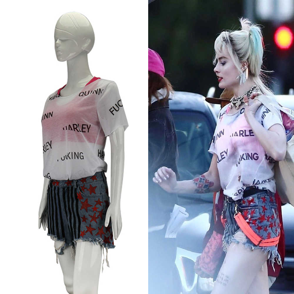New Cosplay Birds of Prey Harley Quinn Suicide Squad Costumes Vest Short Pants T-Shirt Woman Halloween Costume Party Prop