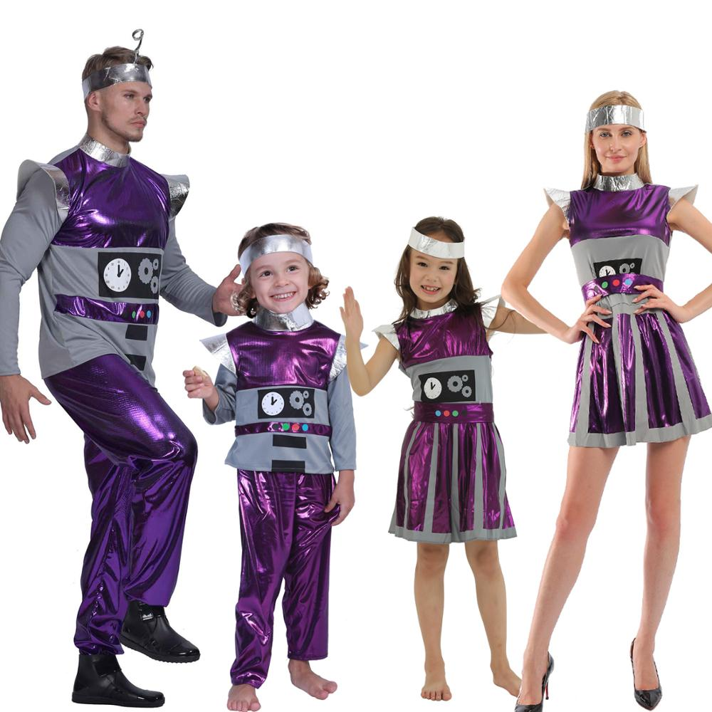 Snailify Family Halloween Costume Women Robot Costume Boys Spaceman Cosplay Girl Astronaut Cosplay Father Carnival Party Cosplay