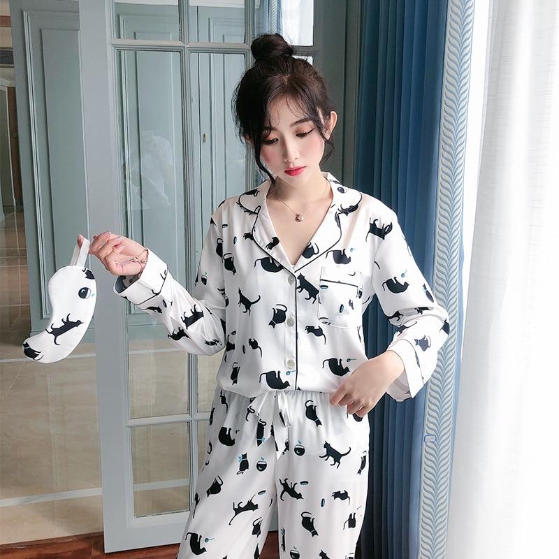 2019 новая пижама с принтом животных, сексуальная пижама с длинными рукавами, белая женская одежда из 2 предметов, благородная Домашняя одежда