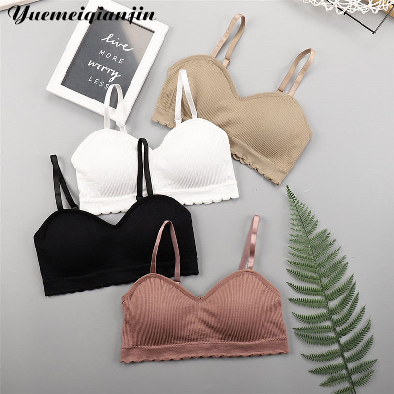 Women Sexy Seamless Bra With Chest Pad Print Strap Breathable Sports Bra Top Underwear Tube Top Female Lingerie Push Up Tube Bra