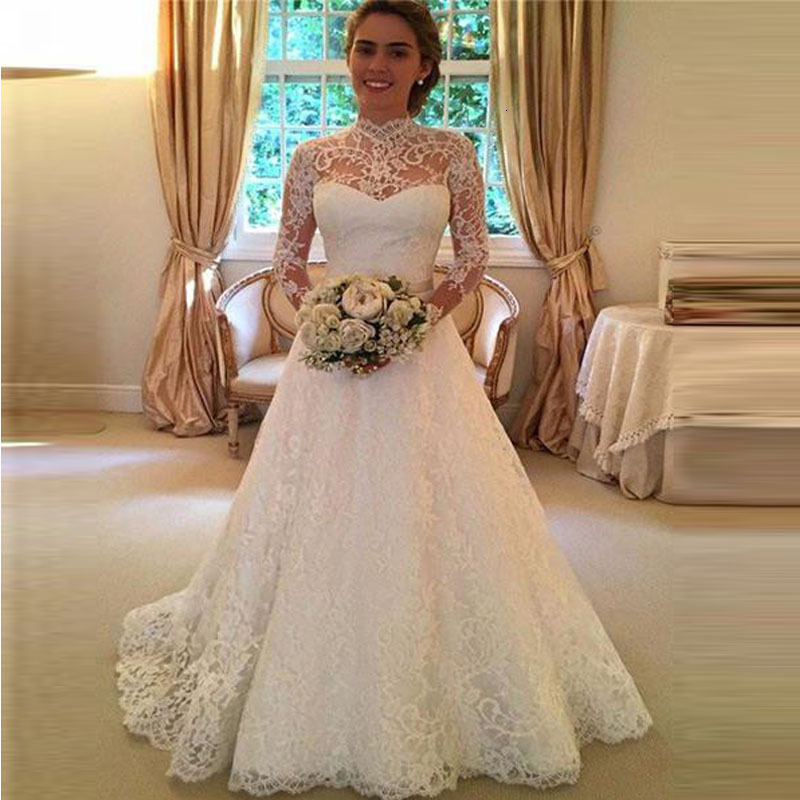 BacklakeGirls 2019 Sexy High Neck Long Sleeve Cut Out Back Princess Wedding Dress Sweep Train Lace Wedding Gown Robes De Mariée