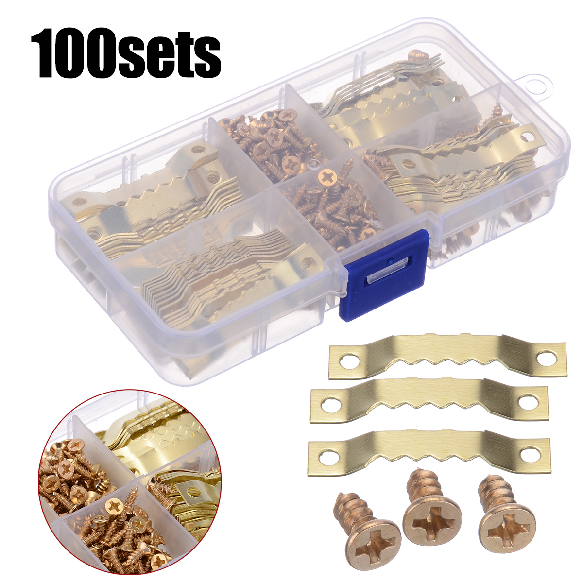 100 Sets Gold Saw Tooth Hangers Canvas Picture Frame Hanging Hooks With Screws Sawtooth Hangers 45*8mm DIY Hardware Tools