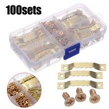 100 conjuntos 45*8mm serra de ouro dente cabides quadro da lona ganchos + parafusos sawtooth cabides