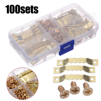 100 Sets Gold Saw Tooth Hangers Canvas Picture Frame Hanging Hooks With Screws Sawtooth Hangers 45*8mm DIY Hardware Tools mini hook hanging picture oil painting mirror mirror cross stitch picture photo frame 2 holes hooks hangers with screws