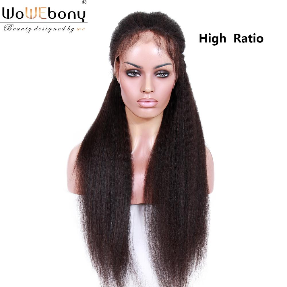 370 Lace Frontal Wig Kinky Straight Wig 150 180 Density Brazilian Remy Pre Plucked 12-22