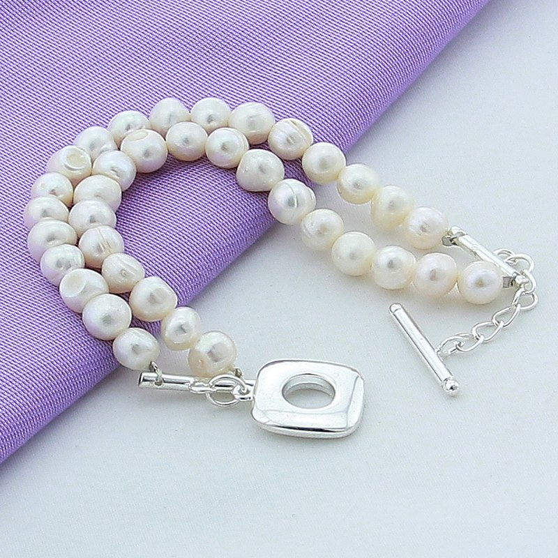 Luxury Brand New 925 Silver Charm Bracelet Fashion Natural Freshwater Pearl Bracelet Women Female Best Gift