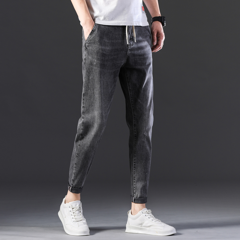 KSTUN Men's Jeans New Arrivals Spring and Summer Stretch Grey Haren Pants Leisure Joggers Pants Streetwear Drawstring Boys Jeans 13